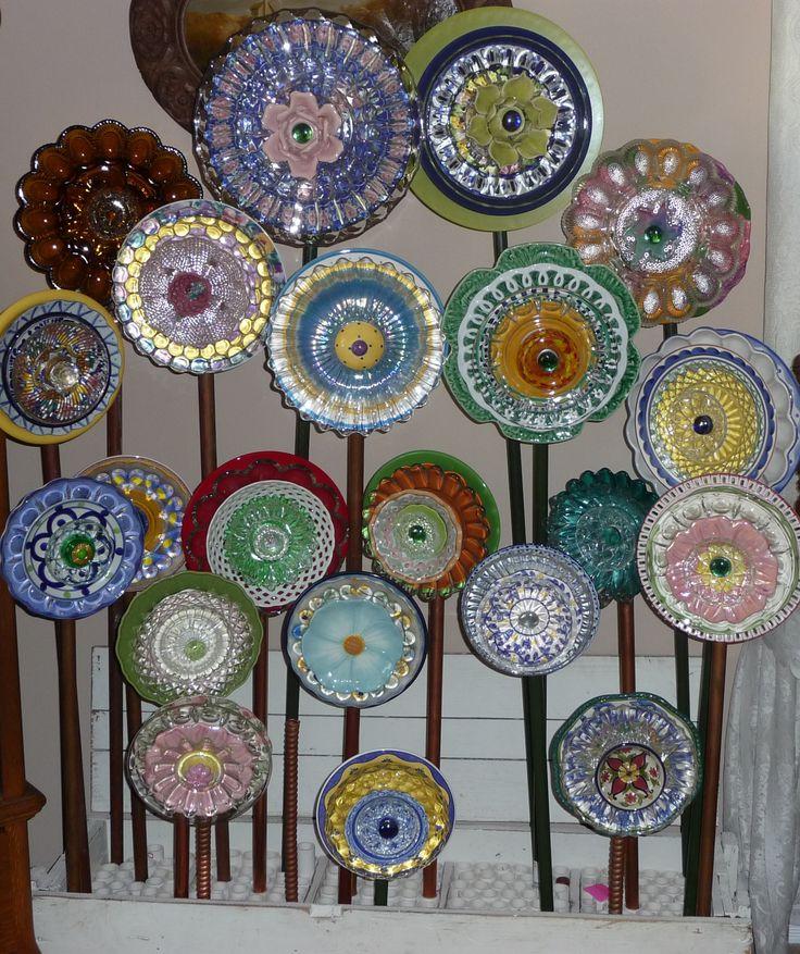 Plate Flower Bed. #259.                                   Garden Yard Art glass and ceramic plate flower