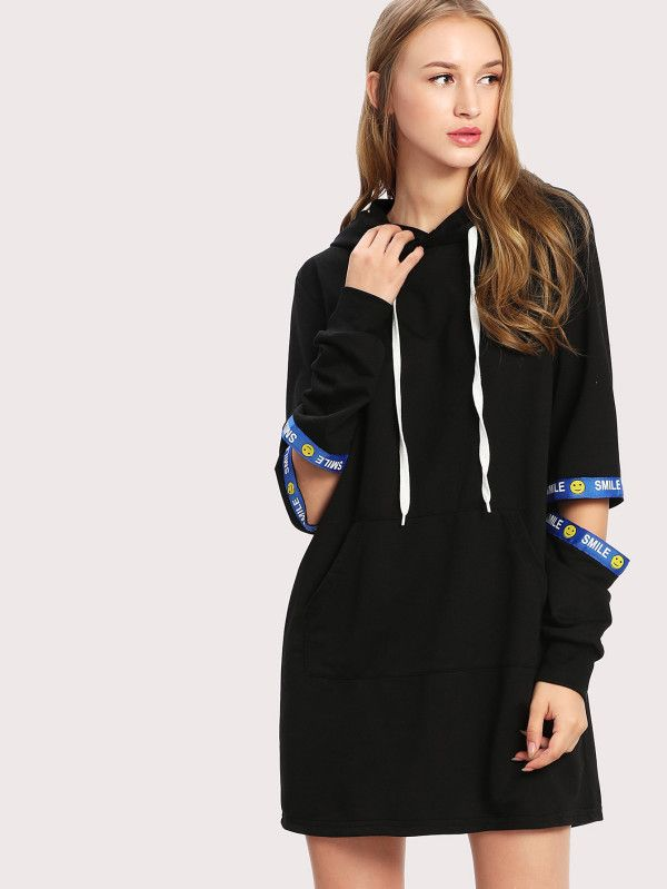 Letter Ribbon Detail Ripped Hoodie Dress -SheIn(Sheinside)