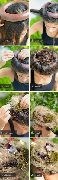 Bird nest hair - this would be an inexpensive, relatively quick and very eye-catching character element for a LARP npc
