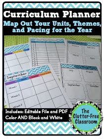 Clutter-Free Classroom: Tips for Curriculum Planning {Mapping, Long Range Plans, Year-Long Planner}