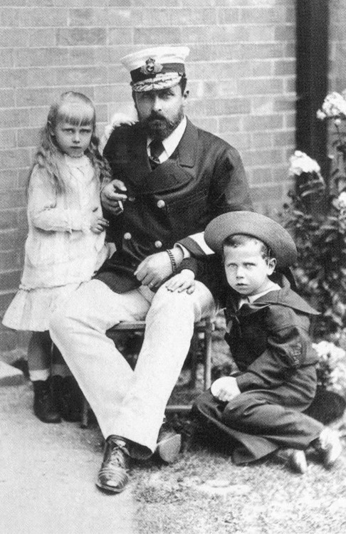 The Duke of Edinburgh with his daughter, Princess Marie (future Queen of Romania) and son, Prince Alfred of Edinburgh.