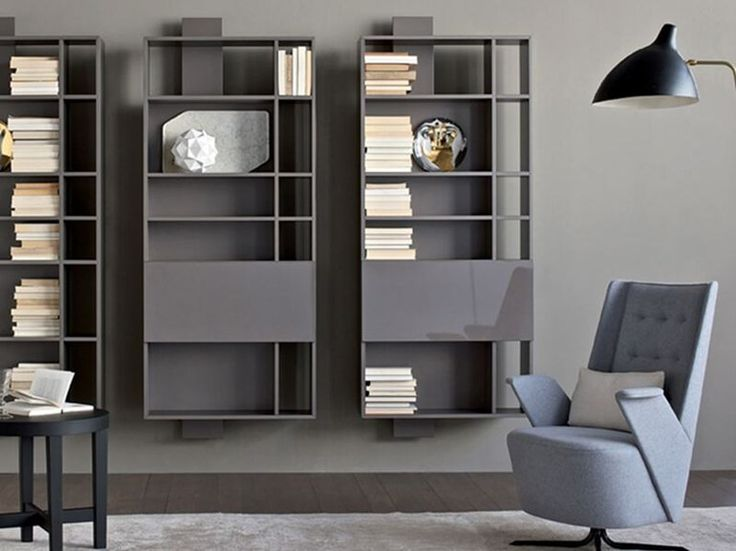 Wall-mounted lacquered floating bookcase CONTATTO | Bookcase by ESTEL GROUP