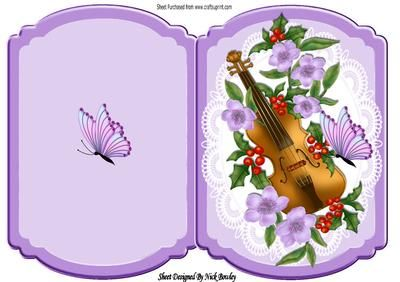 Violin with flowers and butterfly on lace bracket card on Craftsuprint - Add To Basket!