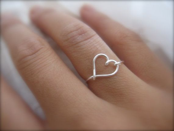 Mothers Day  Silver Heart Ring by DesignedByLei on Etsy, $9.75