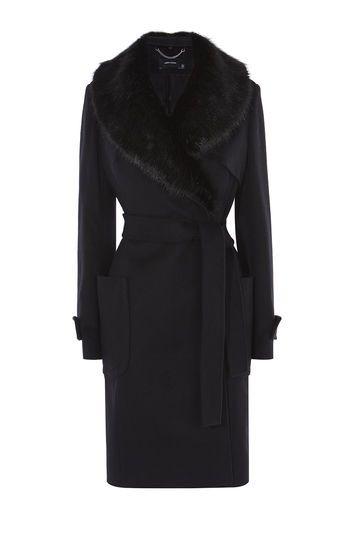 Karen Millen, FAUX-FUR COLLAR COAT Black £350 A/W 2016