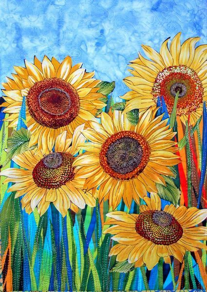 Sunflowers by Iris Sonnenschein at Iris Quilts. Private Collection. From the series Child's Eye View of Color and Collage.