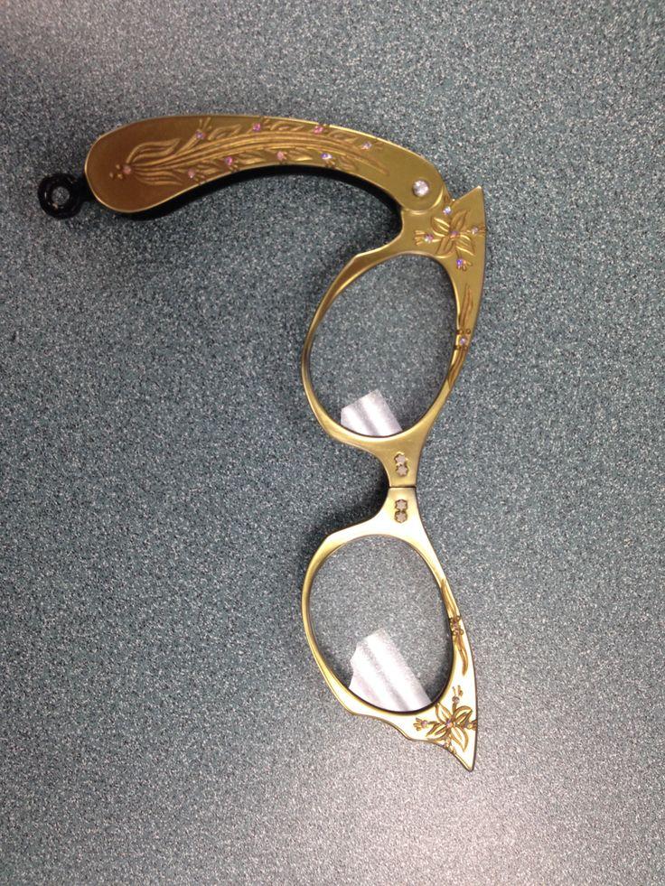 1950 cat eye gold lucite vintage lorgnette