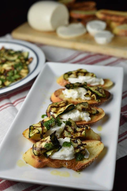 BRUSCHETTA WITH GRILLED ZUCCHINI AND RAVIOLI WITH ASPARAGUS