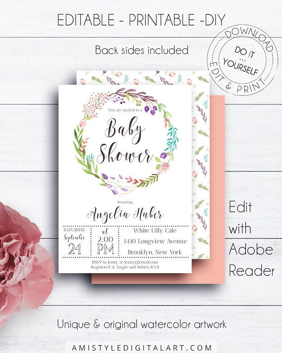 Baby Shower Editable Template, with stylish watercolor floral wreath design perfect for baby girls or boys in boho style.This floral baby shower invitation listing is for an instant download EDITABLE PDF so you can download it right away, DIY edit and print it at home or at your local copy shop by Amistyle Digital Art on Etsy