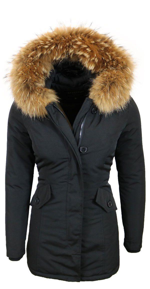 Dames winterjas zwart parka | Parka, Winterjas, Winterjassen