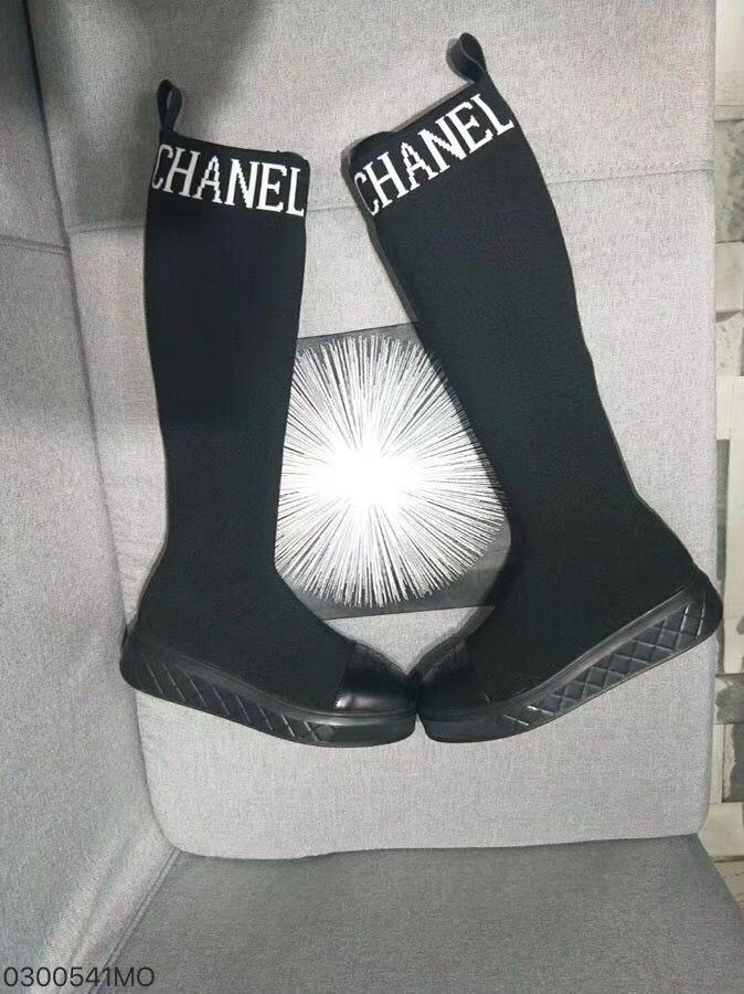 d41f0ec97ef Chanel woman shoes sock boots knee high long boot