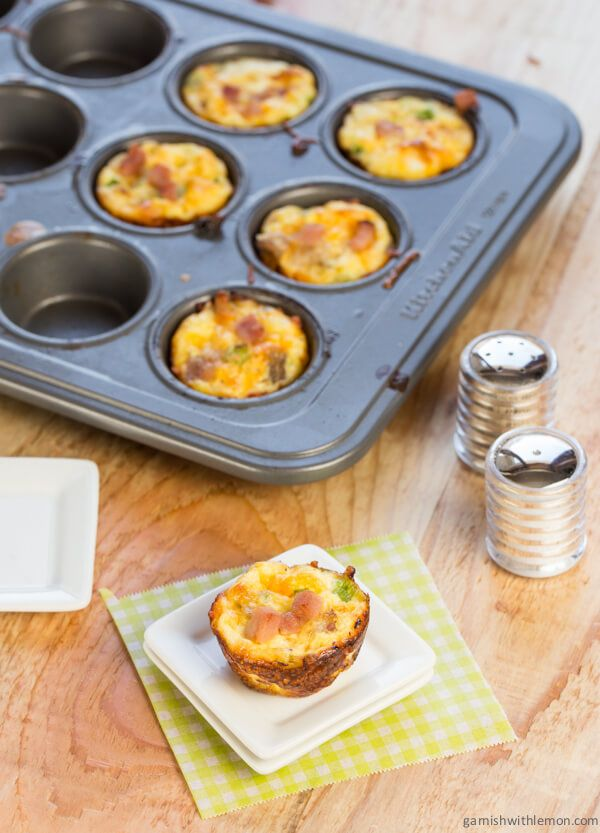 Mini Ham and Cheddar Crustless Quiches ~ http://www.garnishwithlemon.com