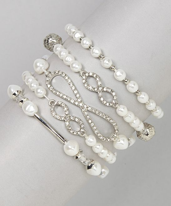 White & Silver Infinity Bracelet Set