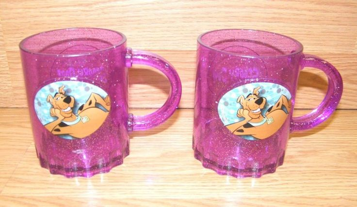 "Hanna Barbera Scooby-Doo Pair of (4"" x 3.25"") Purple Glitter Plastic Mugs  | eBay"