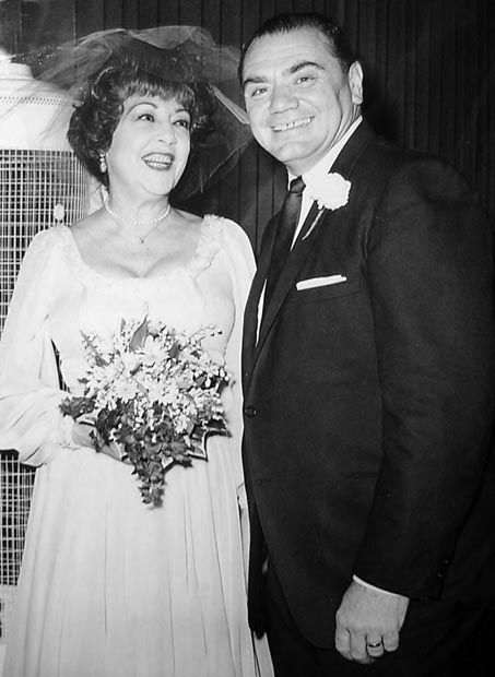 Ethel Merman and Ernest Borgnine are all smiles at the reception which followed their marriage in the garden of his Hollywood home. June, 1964 (the marriage lasted 32 days)