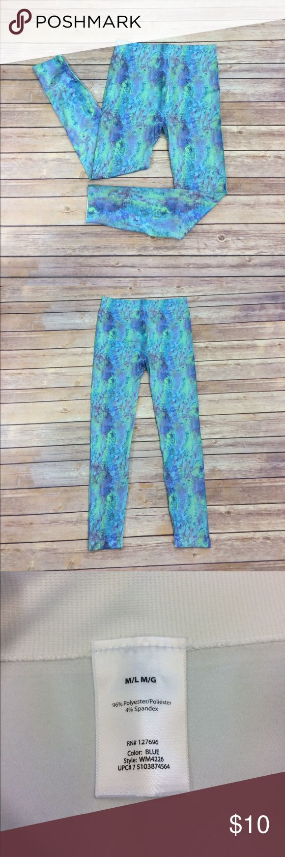 "Water Color Leggings—Great for Yoga Adorable water color leggings. Super stretchy. Material has a nice, silky feel to it. Soft elastic waistband that doesn't cut into skin. W 26""; L 34""; I 24.5"". The length stretches enough to fit longer inseam up to 31"". Maybe more. Worn once. Pants Leggings"