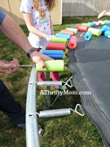 replace a worn out trampoline safety pad with pool noodles ~ Easy DIY, #diy, #poolnoodles,#trampoline, #homeimprovement