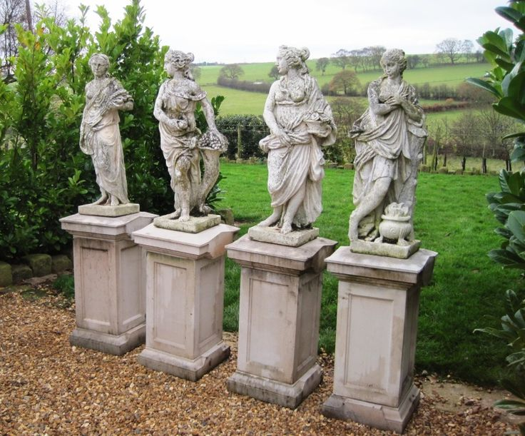 Superior Set Of Statues On Plinths Of The 4 Seasons,garden Antiques,antiques,garden