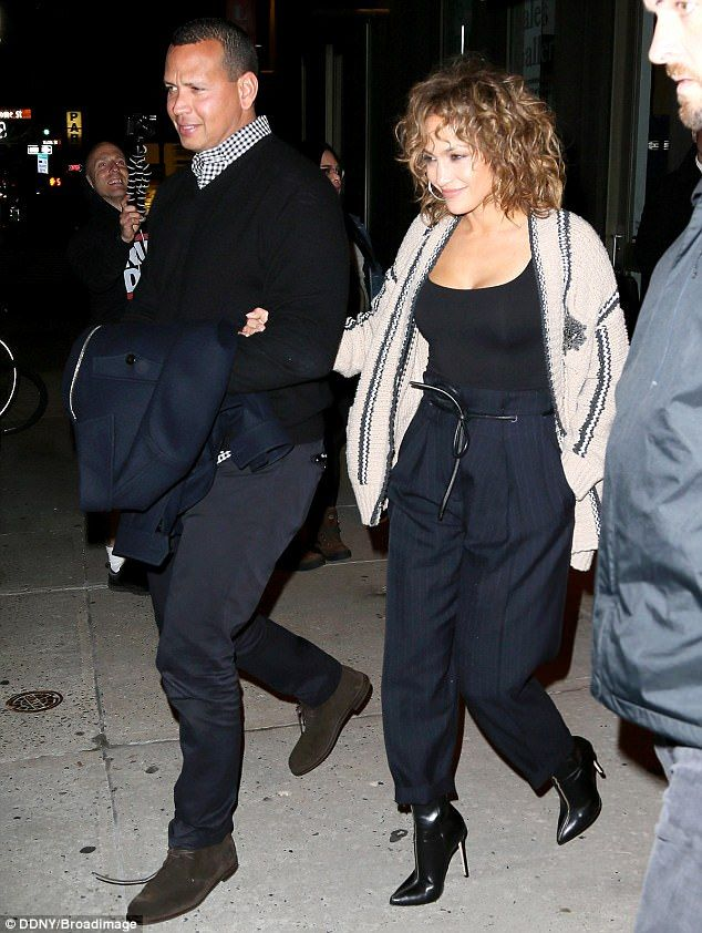 Bright lights, big city: Jennifer Lopez, 47, and Alex Rodriguez, 41, held hands Sunday evening as they headed to Cipriani in New York City