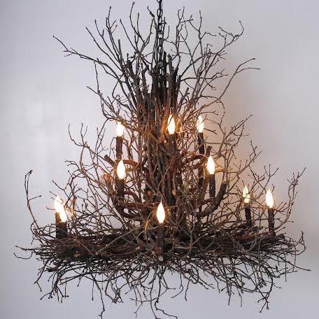 Artfully-crafted of natural hickory branches & twigs, by award winning Deanna Wish Designs, this large chandelier will be an eye-catching focal point for your rustic lodge, eclectic farmhouse or contemporary...