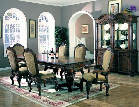 32 Stylish Dining Room Ideas To Impress Your Dinner Guests: Saint Charles Traditional Brown Dining Room Set