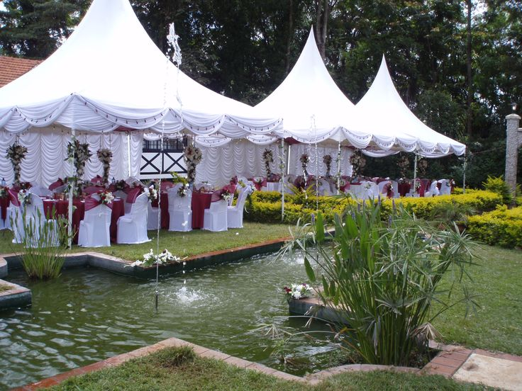 Wedding Reception Set-up ,Tents With Backdrops , Table