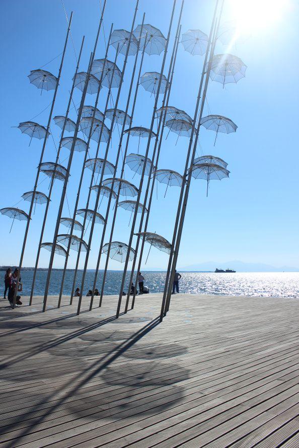 umbrellas.   #umbrellas #thessaloniki #greece #blue