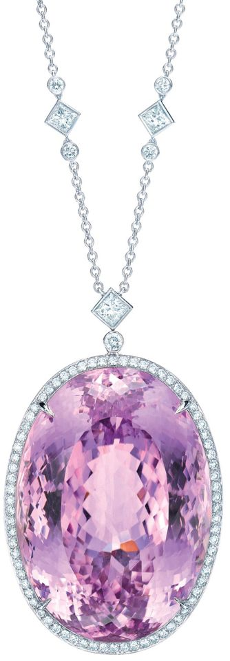 The Tiffany Anniversary Kunzite pendant, oval, 175.51 carats, and diamonds in platinum, on a diamond and platinum chain. Via The Jewellery Editor.