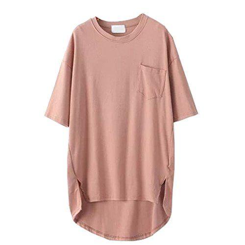 SAYM Women Oversize Pocket Open Fork Hem Long T-shirt Tops * Read review @ http://www.amazon.com/gp/product/B00WMPSVTI/?tag=passion4fashion003e-20&qr=230716200058