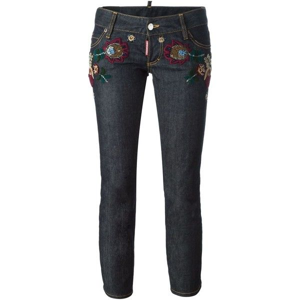 Dsquared2 'Sexy Cropped Boot Cut' jeans (£665) ❤ liked on Polyvore featuring jeans, blue, dsquared2 jeans, embroidered jeans, sequin jeans, boot-cut jeans and cropped jeans