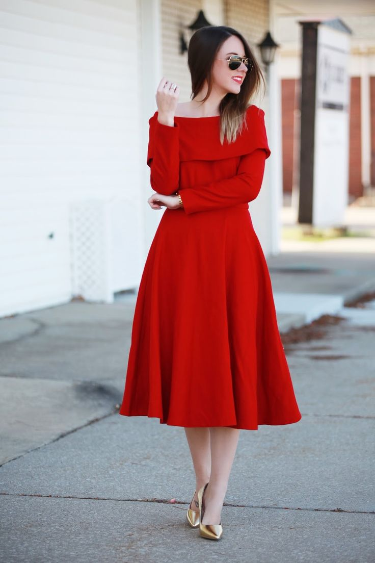 """Keep warm without compromising the glamour in our Festive Wool-blend prom dress! The bardot neckline screams Old Hollywood while the wool whispers, """"I'll take care of you this winter."""" Red lip, black clutch and head out!"""