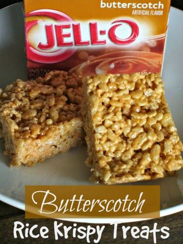 BUTTERSCOTCH RICE KRISPY TREATS -  *6 cups Rice Krispies *1/4 cup butter *10 oz. package miniature marshmallows *1 small box Butterscotch Instant Pudding ~DO THIS WITH ANY FLAVOR OF PUDDING MIX.  WOULD BE GREAT IN THE FALL WITH PUMPKIN SPICE PUDDING MIX. ~COCONUT CREAM ~PISTACHIO ~OREO ~etc...