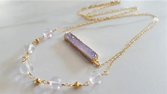 Pink Amethyst And Druzy Necklace Double Strand Necklace Pink