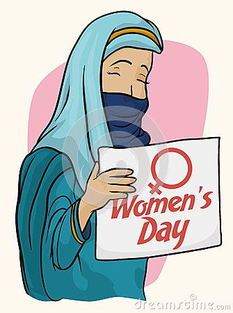 Arabian woman holding a banner with Women's Day text with traditional blue clothes and scarf