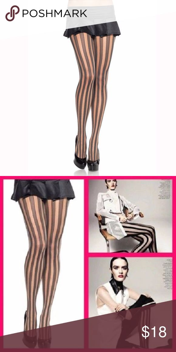 Leg Avenue Stripe Tights Stockings Pantyhose Leg Avenue Sheer Vertical Stripe Tights Pantyhose   AS SEEN IN VOGUE!    CONDITION: NEW IN PACKAGE.  Style 9170 Leg Avenue Accessories Hosiery & Socks