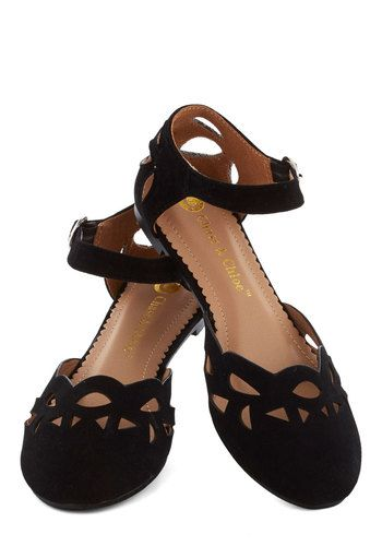 Seedless Romantic Flat in Black - Black, Solid, Cutout, Flat, Good, Daytime Party, Variation