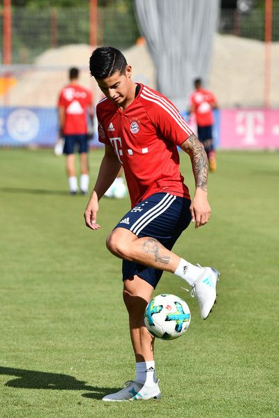 James Rodriguez of FC Bayern Muenchen plays with a ball during a training session at Saebener Strasse training ground on July 12, 2017 in Munich, Germany.
