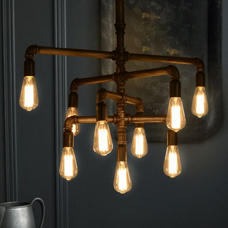 Американский минималистский стиль спальни лампа творческий ресторан промышленности трубы железа люстра освещение выставочного зала купить на AliExpress