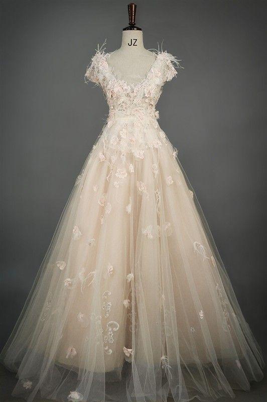 Blush Wedding Dress With Feathers : Flower fairy pink v neck short sleeved wedding dress