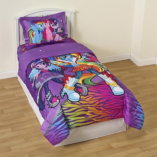My Little Pony Girl's Twin Reversible Comforter & Sham - Equestria Girls