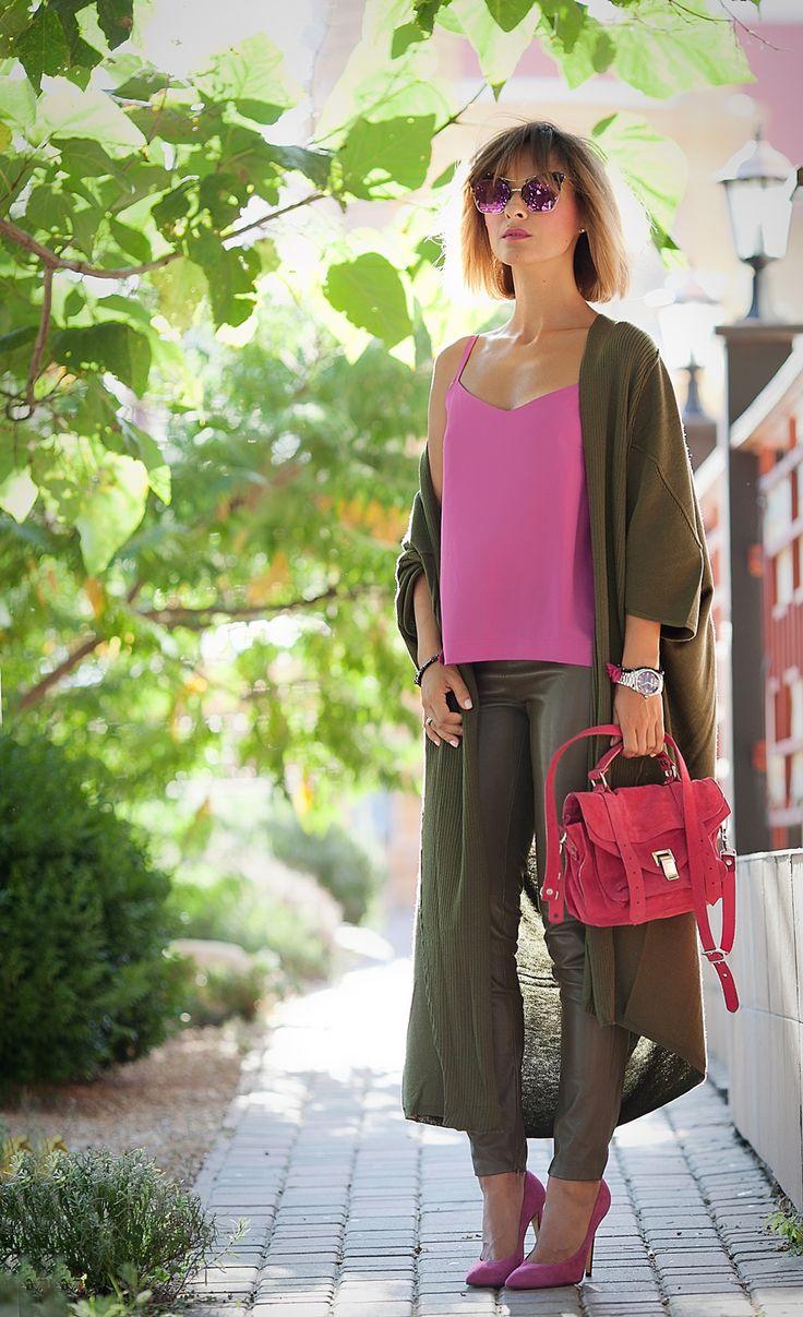 asos+khaki+cardigan+outfit-with-proenza+schouler+ps1+pink+bag