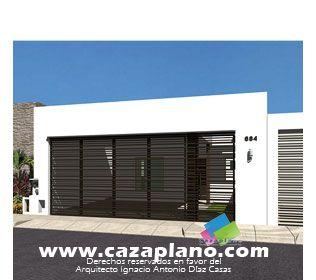 Fachada de casas moderna para construir cochera con - Puertas de cochera ...