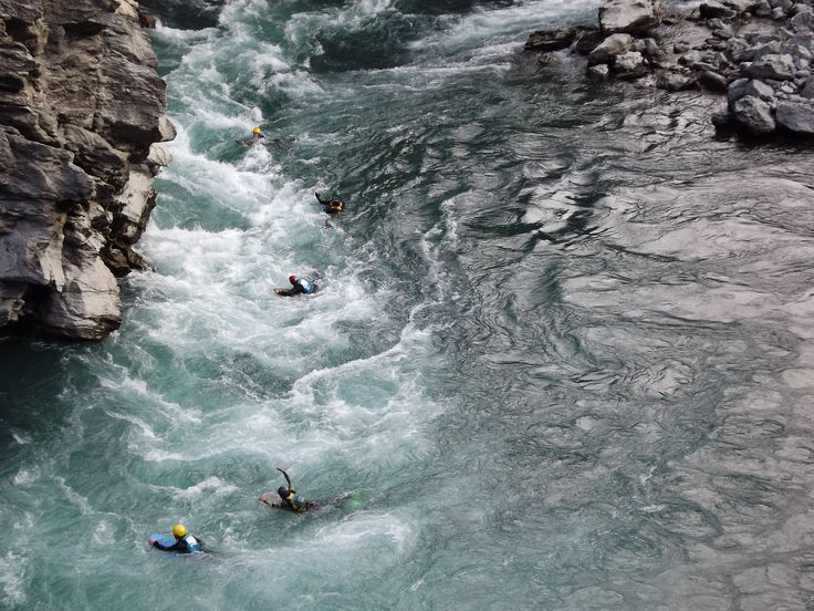 Body Boarding down the Roaring Meg in Central Lakes district. Central Otago