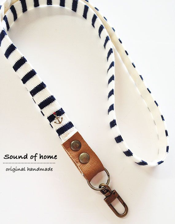 Nautical anchor unisex leather keychain key holder lanyard handmade zakka. via Etsy.