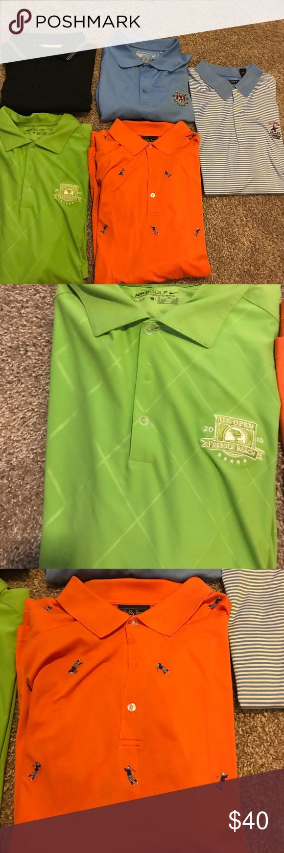 Golf Shirts Worn once and dry cleaned! Bought them at different place some at the us open 2010 pebble beach golf course, bethpage black us open 2009, and others are just golf Shirts. All different name brands Nike, Bobby Jones, oxford golf, and cutter and buck Shirts Polos