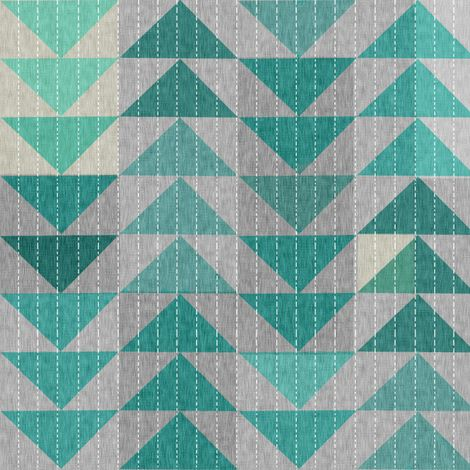 Tribal quilt (in turquoise) fabric by nouveau_bohemian on Spoonflower - custom fabric