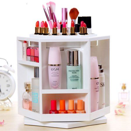 360 Degree Rotating Makeup Organizer Storage, Large Capacity Spining Cosmetic Makeup Box Case Holder for Bathroom Contertop Bedroom(White)