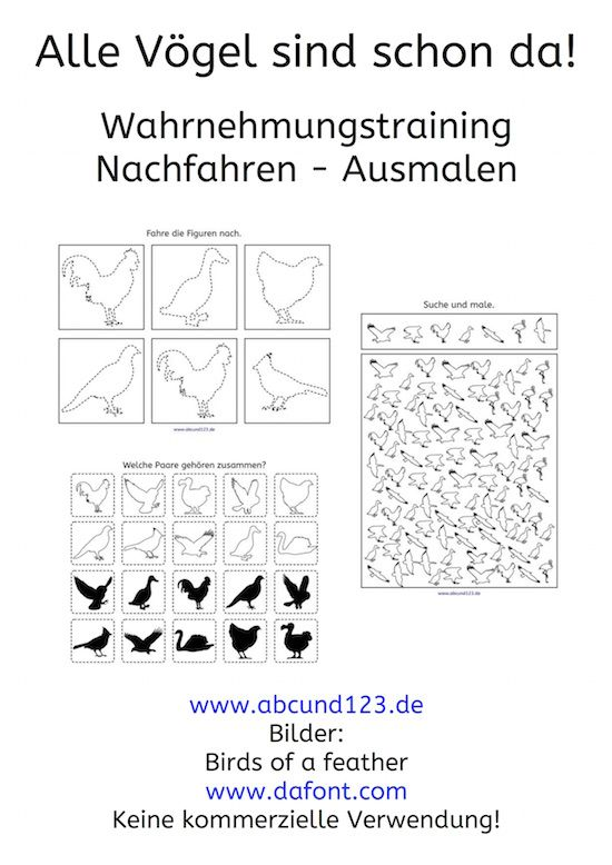 Überall Vögel – Wahrnehmungsübungen #freebie #noprep #Wahrnehmung