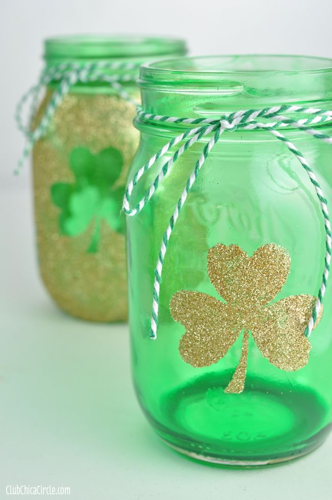 Shamrock tinted mason jar craft idea ).     Perfect for the kids for their  St. Pat's Day anniversary!      A Dollar Store candle inside  and voilà you have a lovely     gift!