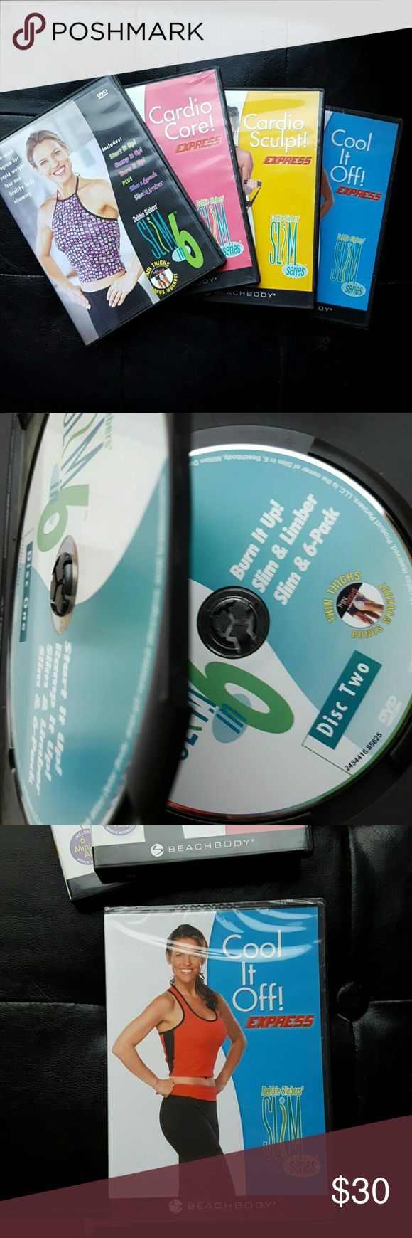 """SLIM IN 6 WORKOUT DVD DEBBIE SIEBERS Beach body Slim in 6 workout Dvd's. 5 Disc set. Nothing wrong with the DVD's. """"Cool it off"""" is still wrapped in plastic. Great workout to start your New years resolution! REASONABLE offers considered. Other"""